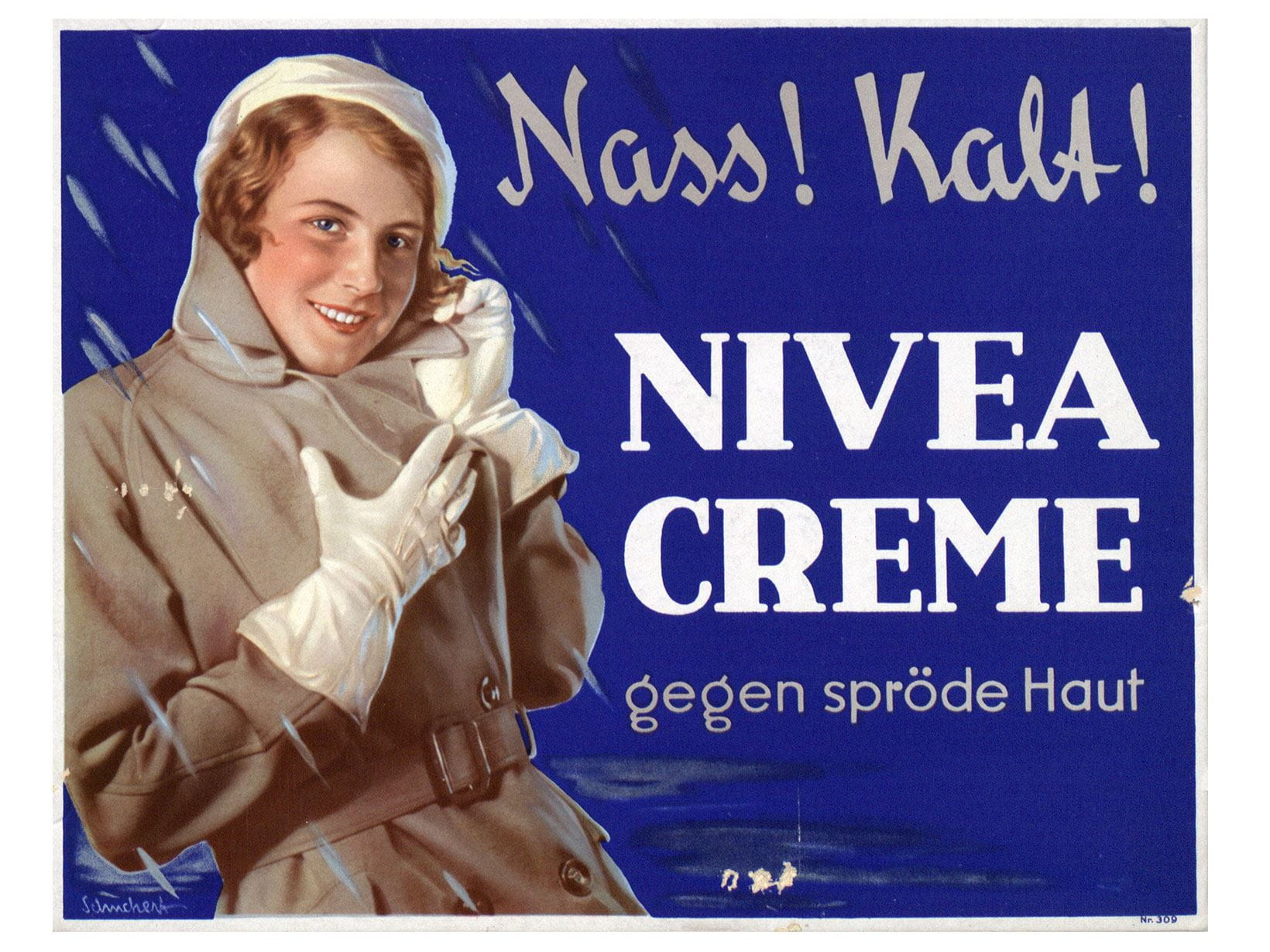 Even in wet and cold weather NIVEA protects against rough skin. Advertising poster from 1932