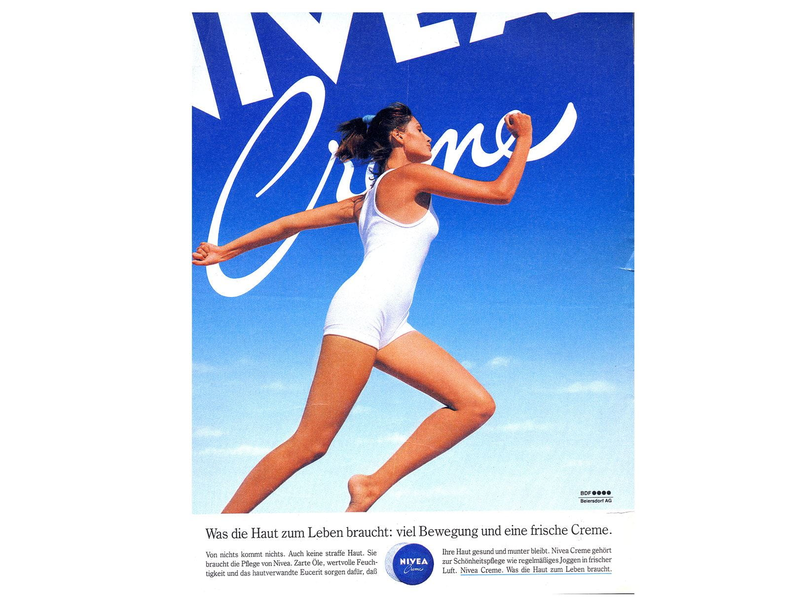 NIVEA Creme advertisement from 1988. What the skin needs for life: plenty of exercise and a fresh Creme.