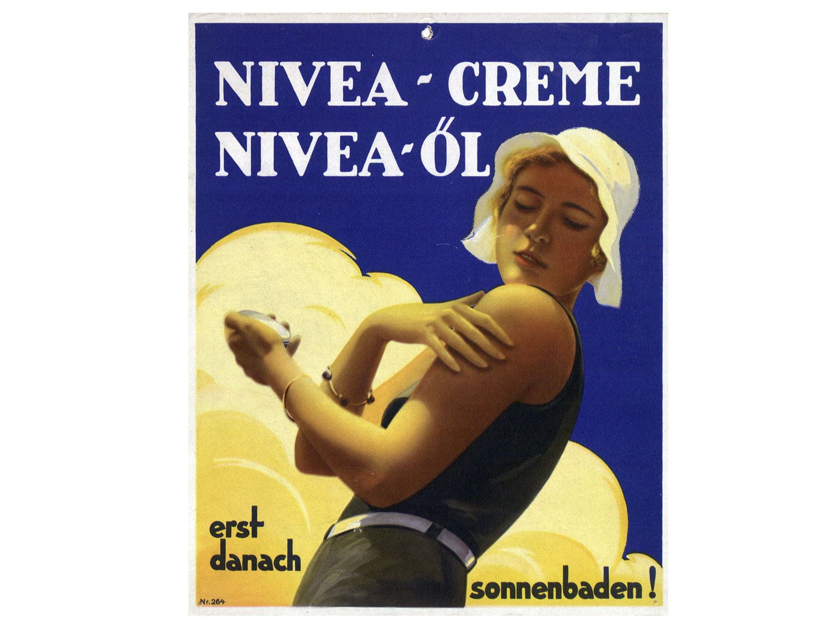 NIVEA advertising poster for cream and oil for sunbathing from 1931